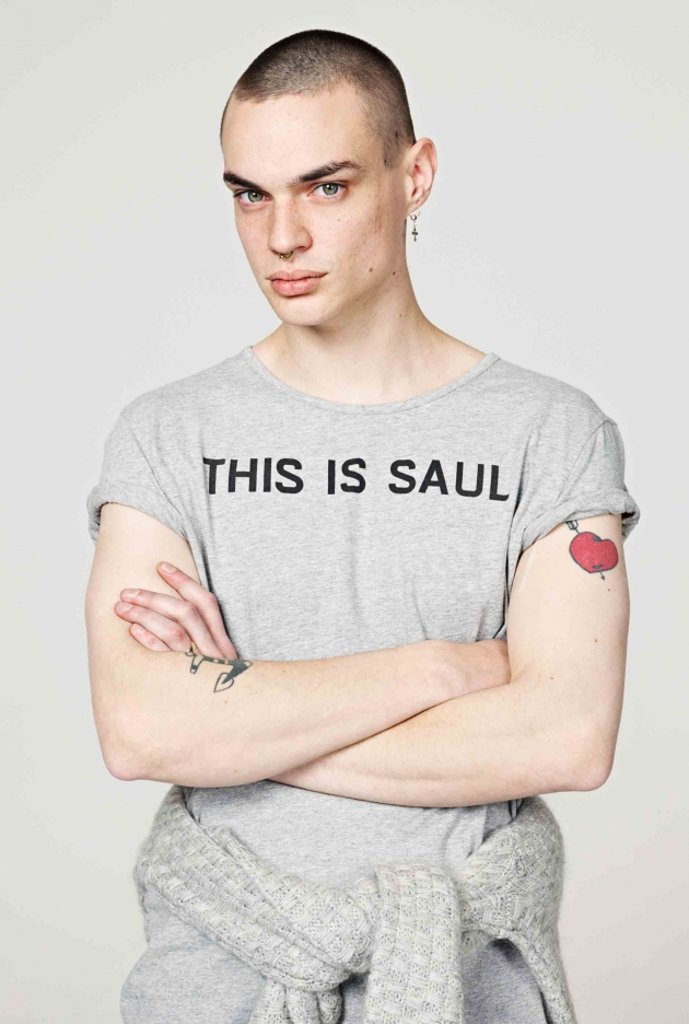 'THIS IS SAUL' GREY MARL CREW GRAPHIC TEE
