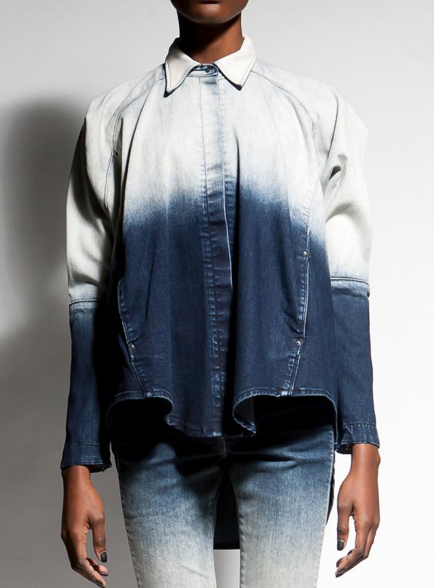 Leather Trim Dip-Dye Denim Shirt
