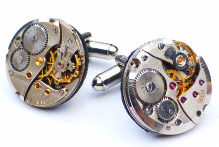 Round watch movement cufflinks in silver