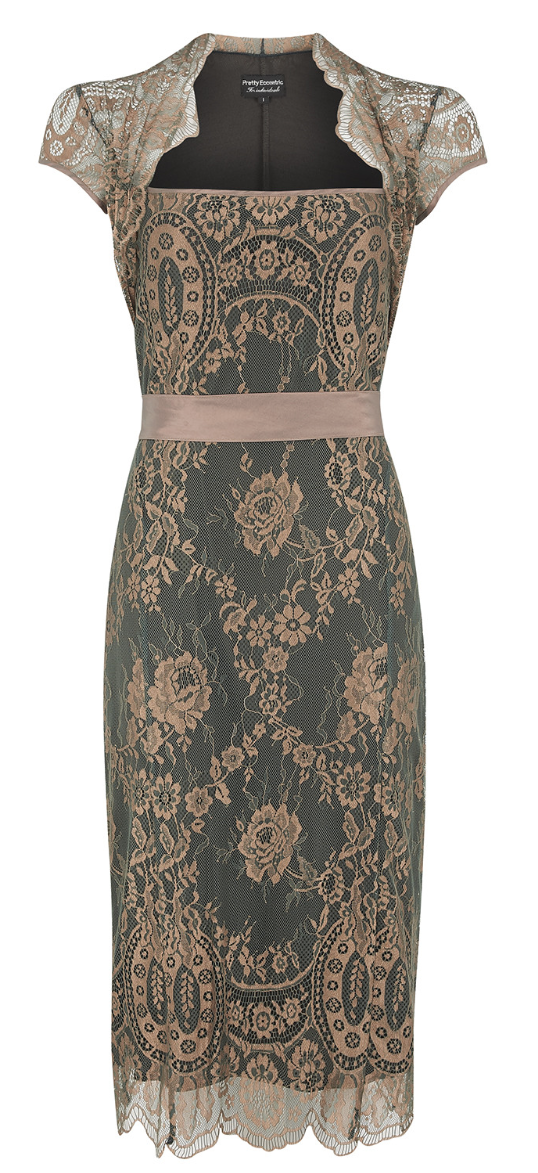 Dita dress in green and gold