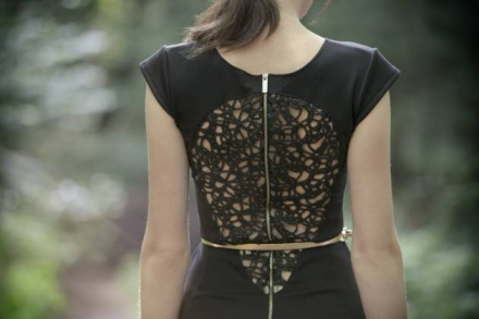 Long slim black dress