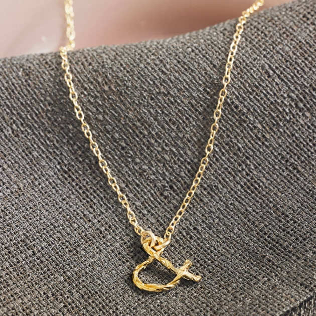 Gold Plated Sterling Silver Ampersand Necklace