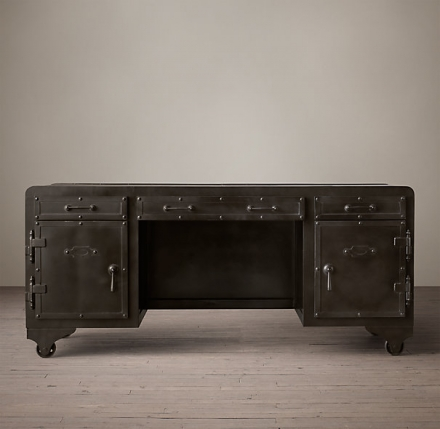 20TH C. IRON VAULT DESK