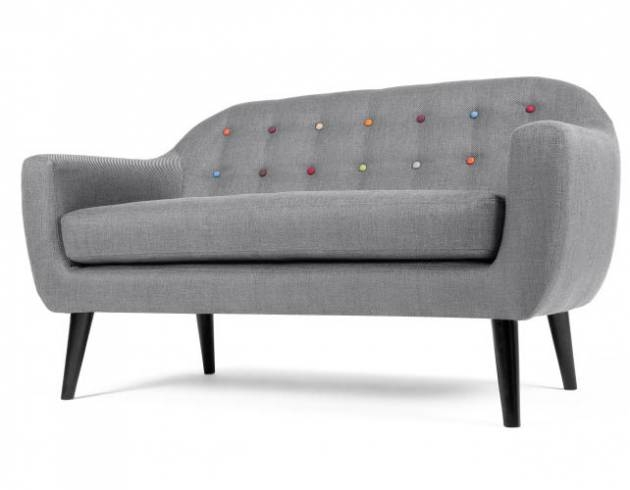 Ritchie 2-Seater Sofa, Pearl Grey with Rainbow Buttons