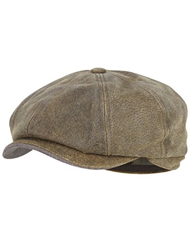 Stetson Burney Leather Newsboy Cap