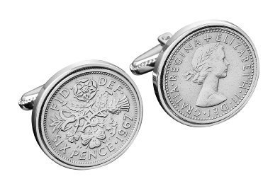 1964 England Cufflinks- 50th English Sixpence Gift-Silver Gift Box-Free Delivery