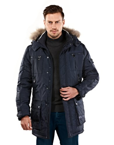 VB Parka with a contrasting collar, slim-fit, removable hood, genuine fur