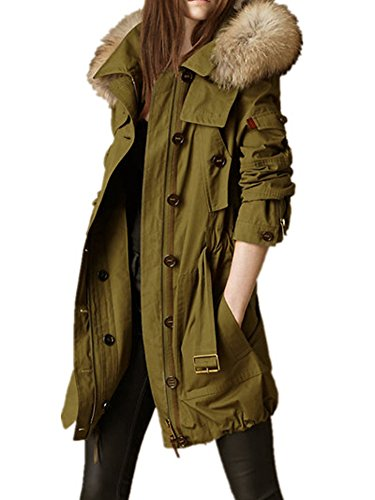 YABEIQIN Wormen's Army Green Mink Fur Hooded Parka Overcoat Cotton Jacket Coats