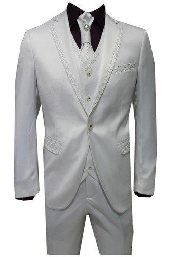 Mens Four Piece White Satin Sequin Diamante Design Wedding Groom Party Suit Wear
