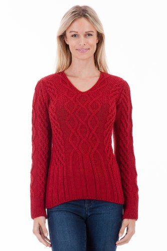 Hollowcombe Walk – Crimson V-Neck Womens Aran Jumper – Pure Merino Wool – Made in Great Britain