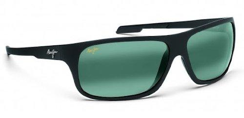Maui Jim Men's Polarized Island Time 237-2M Black Rectangle Sunglasses