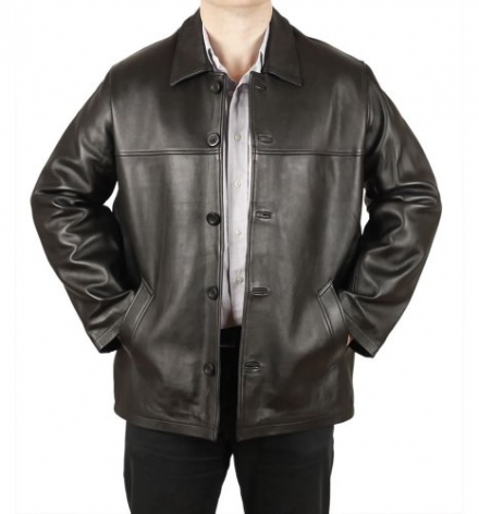 Mens Black Hide Leather Box Jacket