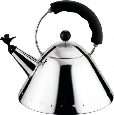 Alessi 9093 B Kettle Stainless Steel with Handle and Bird-Shaped Whistle Polyamide Black