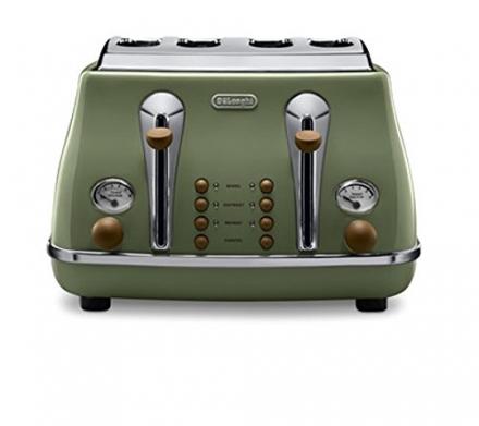Delonghi Vintage Icona CTOV4003.GR Olivia 4 Slice Toaster – Olive Green