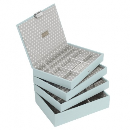 STACKERS Set of 4 'CLASSIC SIZE' – Duck Egg STACKER Set of 4 Jewellery Box with Grey Polka Dot Linin