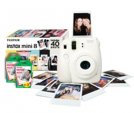 Fujifilm Instax Mini 8 Instant Camera Gift Bundle with 40 Shots – White