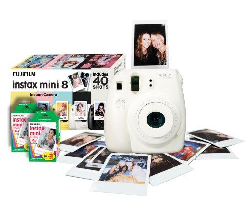 Fujifilm Instax Mini 8 Instant Camera Gift Bundle with 40 Shots – White