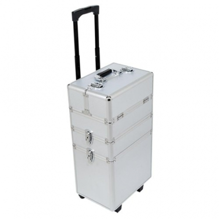 Silver 4 in 1 Aluminium Make Up Cosmetics Beauty Box/Trolley/Carry Case