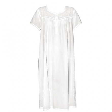 The Irish Linen Store Womens Molly Short Sleeve Cotton Nightdress White