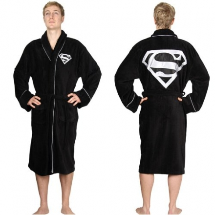 DC Comics Superman Adult Black Towelling Robe