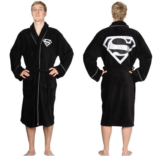 DC Comics Superman Adult Black Towelling Robe