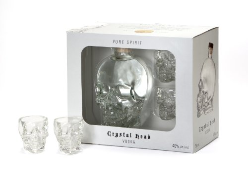 70CL CRYSTAL HEAD VODKA + 2 SHOT GLASSES IN GIFT BOX