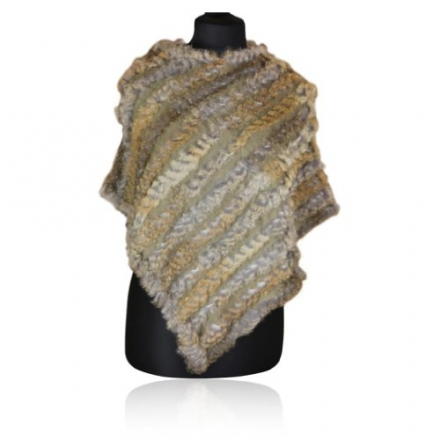 Special Gift Baronial Beauty Beige Coney Fur Fashion Poncho Wrap Scarf Shawl