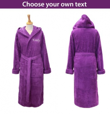 Personalised Hooded Towelling Bathrobe – Purple/Aubergine with Spiral Cord