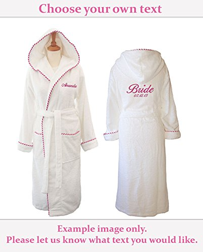 Personalised Towelling Embroidered Wedding Day Dressing Gown – 100% Cotton