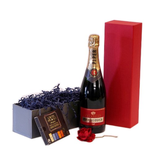 Celebration Champagne & Chocolates Gift Box Includes 750ml Piper Heidsieck Champagne with Green & Bl