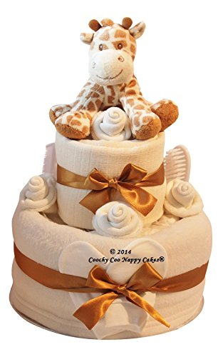 Unisex Neutral Nappy Cake new baby gift with Giraffe soft toy FREE delivery
