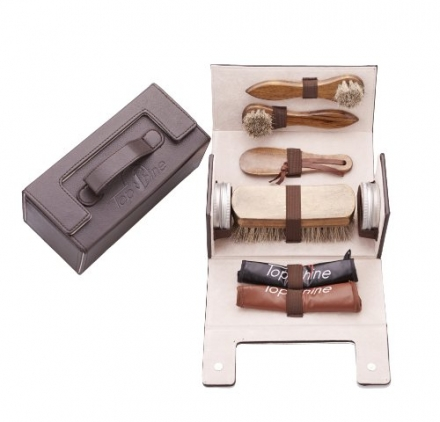 TopShine Professional Shoe Shining Kit. Perfect for Home use or on the Run – Made with 100% Horse Ha