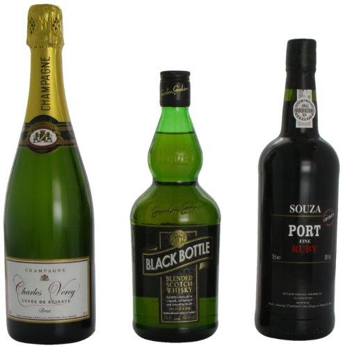 Porter and Woodman Gift Set -Charles Vercy Champagne 75 cl , Port 75 cl  and Black Bottle Whisky 70