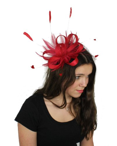 Sinamay Loops and Feather Ascot Wedding Fascinator Hat 121 With Headband