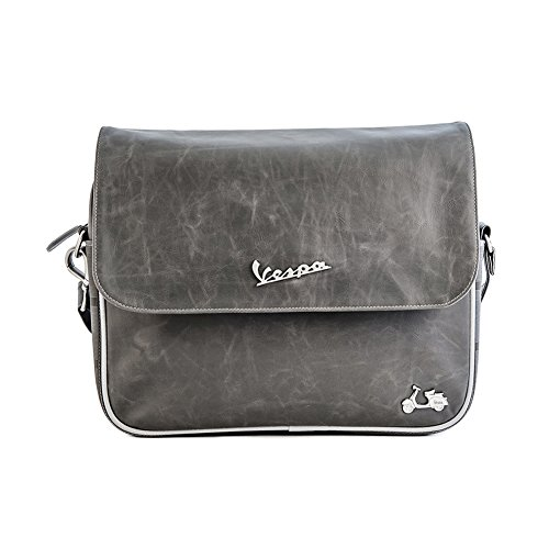 Vespa Eco-leather bag with rubber handgribs grey