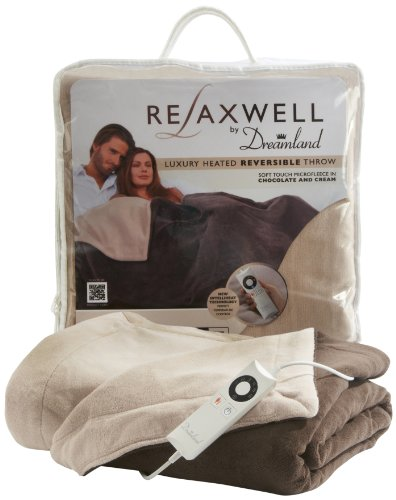 Relaxwell by Dreamland 16083 Luxury Heated Reversible Throw with Intelliheat