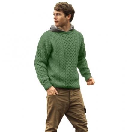 100% Irish Merino Wool Traditional Crew Neck Green Aran Sweater by Carraig Donn