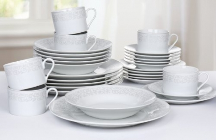 30 Piece Platinum Leaf Dinner Set