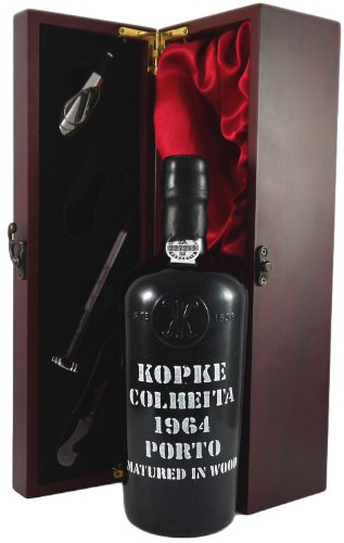 Kopke Vintage Tawny Colheita Port 1964 presented in a silk lined wooden box with four wine accessori