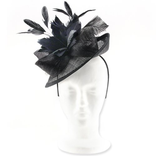 Superb Parisian Style, Brimmed Fascinator Hat for Weddings or Special Occasions, with Ostrich Feathe