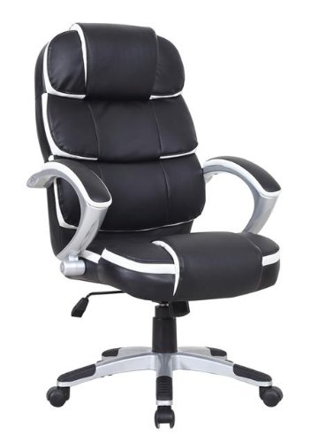 Oypla Luxury Designer Computer Office Chair – Black with White Accents