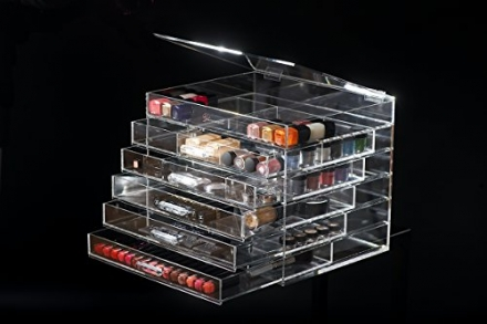 ♡ MOTHERS DAY GIFT ♡ Glamour Living Glamourqueen® ACRYLIC cosmetics storage clear lucite beauty