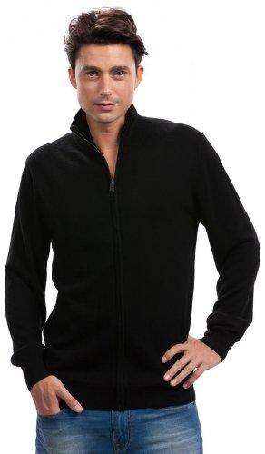 Men's Black Zip Cardigan – 100% Cashmere – by Citizen Cashmere