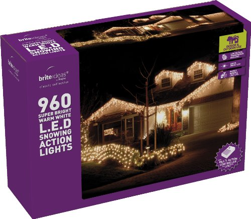 Festive 960 LED Snowing Icicle Lights, Warm White