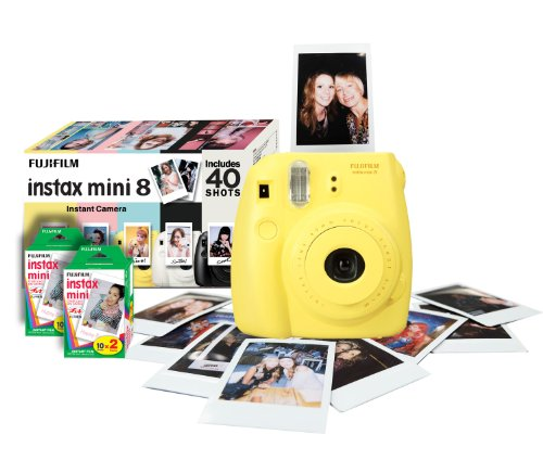 Fujifilm Instax Mini 8 Instant Camera Gift Bundle with 40 Shots – Yellow