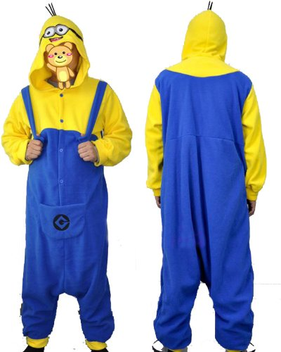 Polar Fleece Despicable Me Yellow and Blue Minions Unisex Onesie Cosplay Costume Hoodies/Pyjamas/Sle