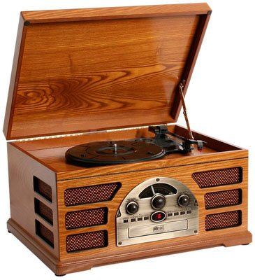 Wooden Retro Turntable 3 Speed AM/FM Radio CD and Cassette Player – (Beech)