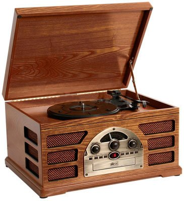 Wooden Retro Turntable 3 Speed Record Player AM/FM Radio CD and Cassette Player – (Mahogany)