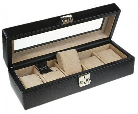 Dulwich Designs Connoisseur Collection Black Leather 5 Piece Watch Box with Suede Feel Lining Perfec
