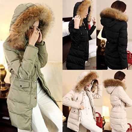 YABEIQIN Women's Large Fur Collar Hood Winter Jacket Thick Long Parka Duck Down Outwear